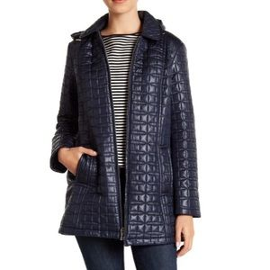 Kate Spade Jacket NEW quilted navy pockets hood S